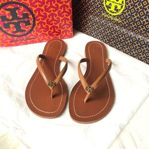 Tory Burch Terra Thong veg leather sandals 7.